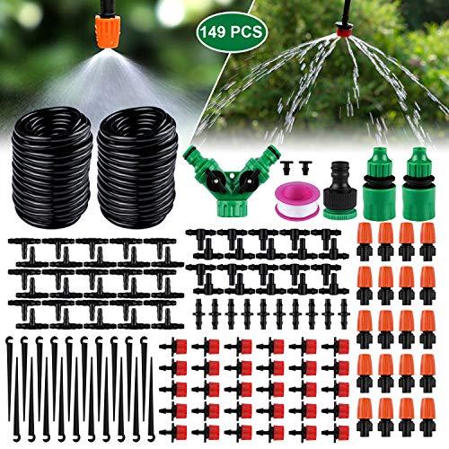 Emooqi Bewässerung Kit, Tropfbewässerung 149 Pcs Garten Bewässerungssystem DIY Micro-Drip-System Automatische Sprinkler Tröpfchenbewässerung Gartenbewässerung für Pflanzen - 30M Bewässerungsrohre