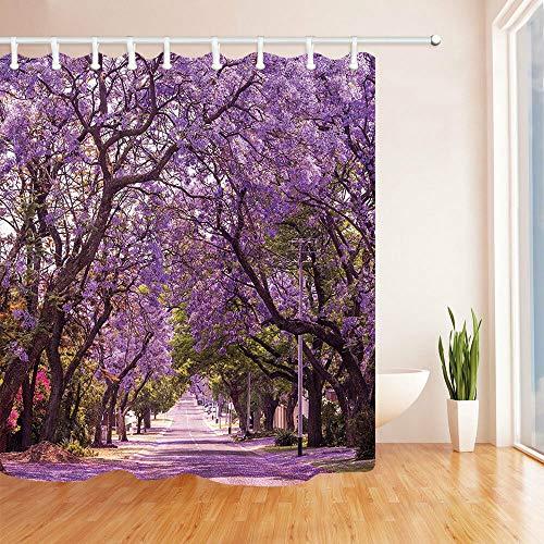 Nyngei Street of Violet Jacaranda Duschvorhang-Set, 183 x 183 cm