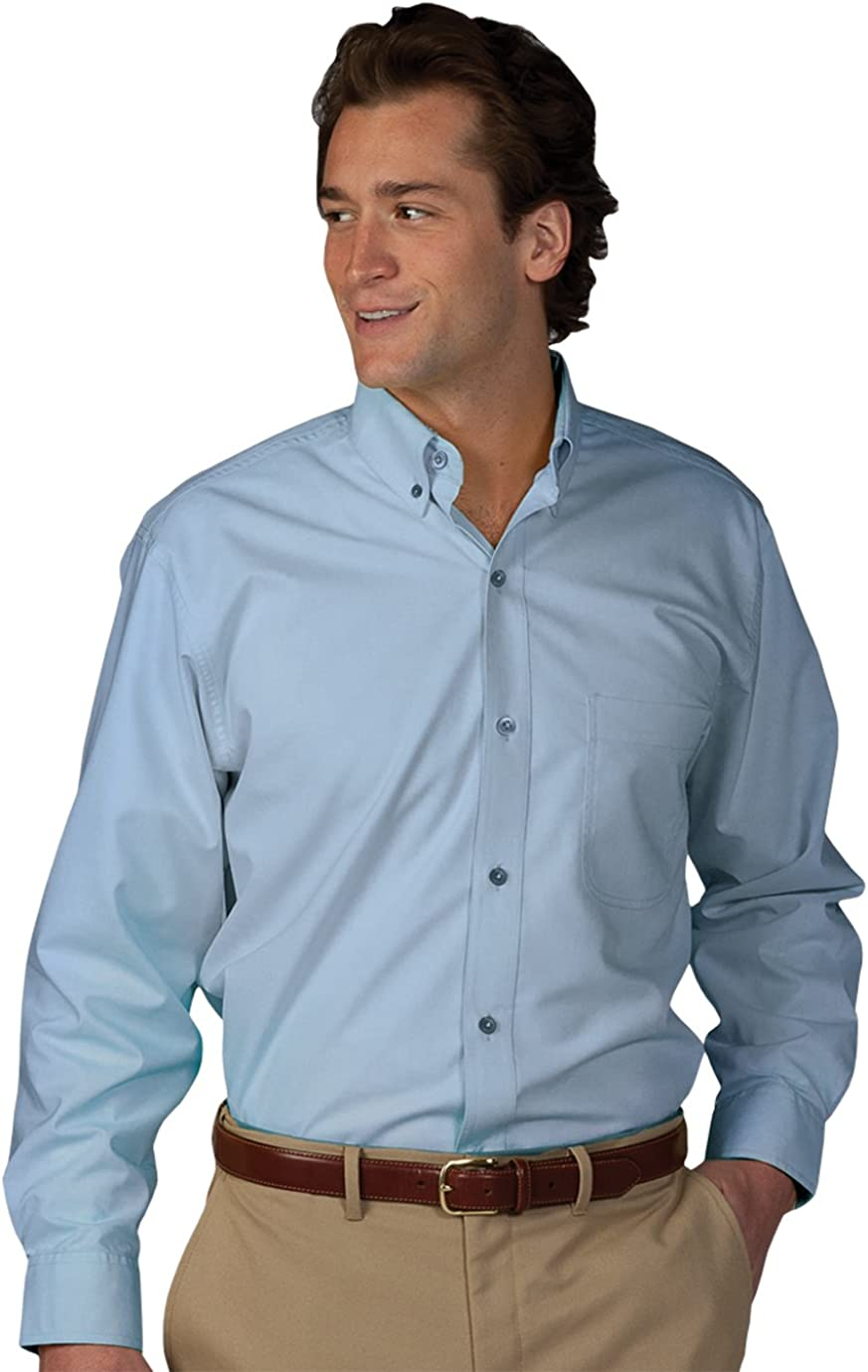 Edwards Garment Men's Big And Tall Easy Care Poplin Long Sleeve Shirt_BLUE_L T