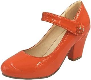 KemeKiss Women Classic Fashion Candy Color Chunky Mid Heel Mary Jane Dress Pumps
