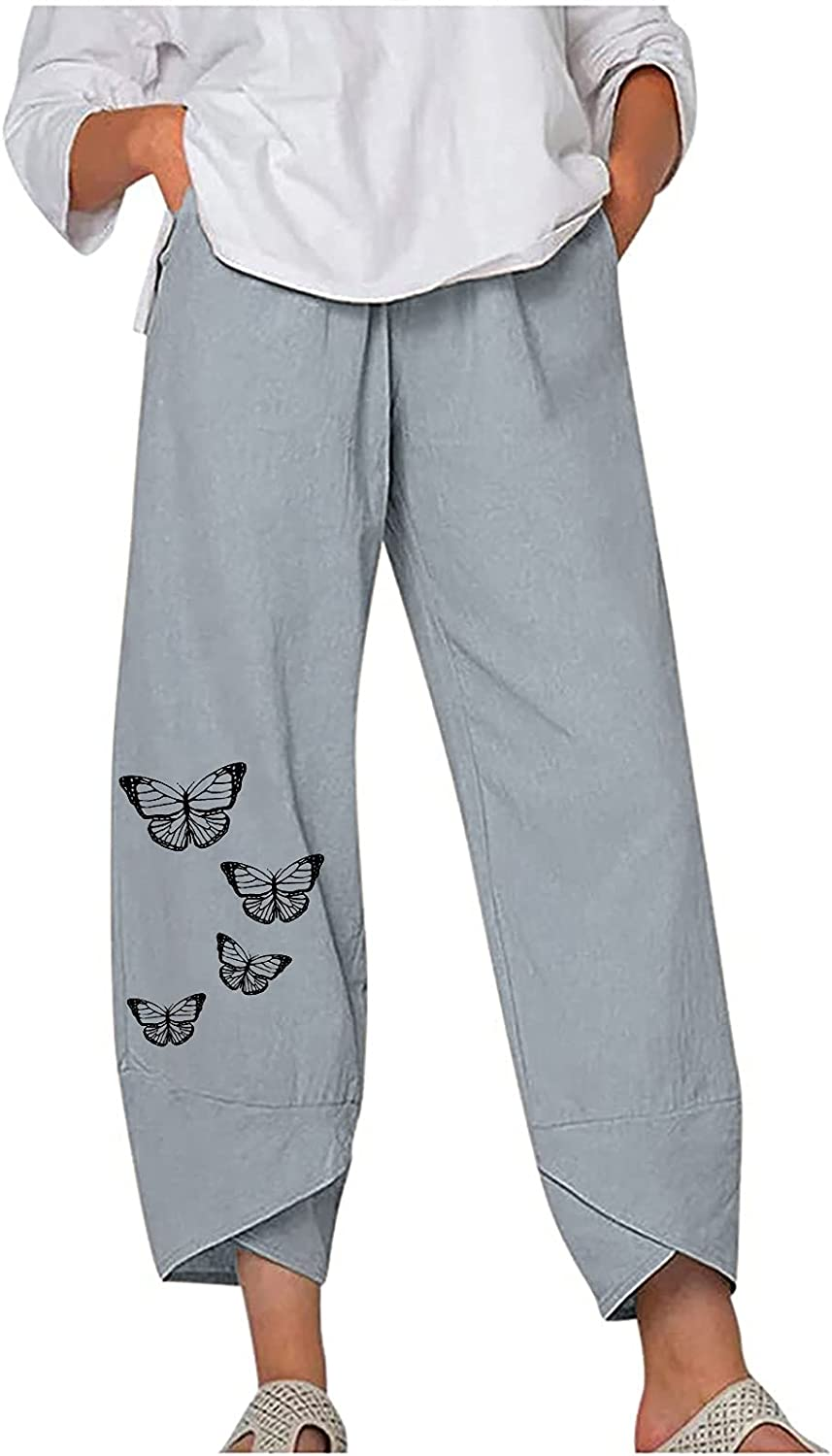Fashion Pants Women's Solid Color Casual Butterfly Print Solid Color Trousers