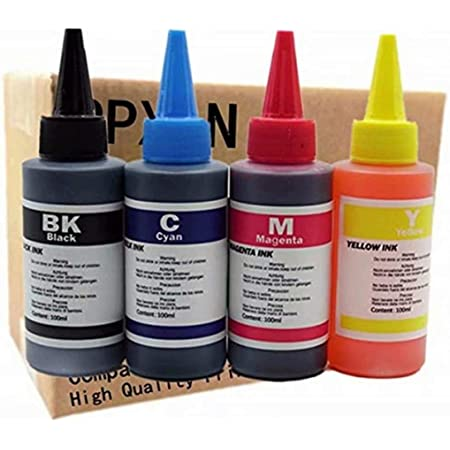 Printer Ink Dye Ink Black/Cyan/Magenta/Yellow Universal Refill Ink Kits Suit for Eposn for Canon for HP for Brother for Lexmark for Samsung for Dell for Kodak All Inkjet Printer (100ML 1Set 4 Pcs)