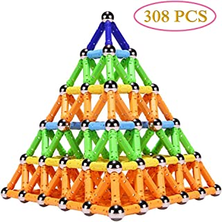Veatree 308 PCS Magnetic Building Sticks Blocks Toys, Magnet Educational Toys Magnetic Blocks Sticks Stacking Toys Set for Kids and Adult, Non-Toxic Building Toy 3D Puzzle with Storage Bag