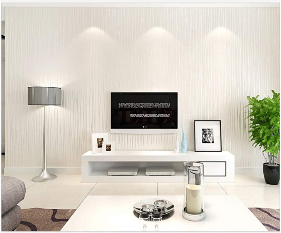 Papel Pintado No Tejido Dise/ño Moderno Rayado Efecto Blanco Plata No-Tejido de Papeles Muro Decoraci/ón de Pared para Dormitorio TV Tel/ón de Fondo 0.53x10m