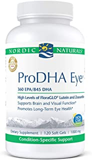 Nordic Naturals ProDHA Eye - Fish Oil, 360 mg EPA, 845 mg DHA, 20 mg FloraGLO Lutein, 4 mg Zeaxanthin, Support for Neurological Function and Long-Term Eye Health*, 120 Soft Gels