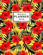 Weekly Planner 2019: Pretty Tropical Floral Daily, Weekly and Monthly 2019 Planner. Nifty Orange Palm Leaves Yearly Organizer, Agenda, Journal and Notebook.