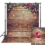 Avezano Fondo de pared de madera de Navidad de 1,5 x 2,1 m, diseño de copo de nieve dorado con purpurina dorada para niños, fotografía estudio, fotógrafo, accesorios