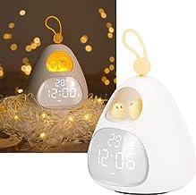 Wekker voor kinderen Kinderen Slaaptrainer Nachtlampje Opladen via USB Snooze Leuke wekker met draagbaar handvat Wakker wo...