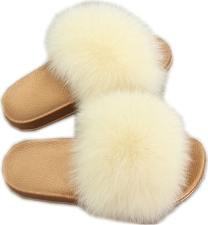 QMFUR Women Real Fox Fur Slippers Fashion Slides Flat Glod Soft Summer shoes for Girls (12, Cream)