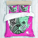 EMYPCH 3 Piece Duvet Cover Set King Size - Doodles Stylized French Bulldog with Paint Splatters Hand Drawn for Women Men Bedding Cover Set for Women Teens (Not Including Comforter)