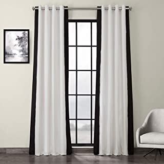 HPD Half Price Drapes PRCT-VC1716-84-GR Grommet Vertical Colorblock Curtain (1 Panel), 50 X 84, Fresh Popcorn and Black