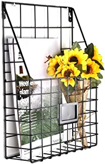 AceList Wall Magazine Rack Vintage Wall Holder Hanging Metal Wire Mesh Newspapers File Book Fit Office Home Supplies Bathroom Dorm Decor