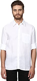 Colorplus Full Sleeve Regular Collar Classic Fit White Linen Solid Shirt for Men