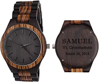 Custom Engraved Wooden Watches for Men Anniversary Gifts for Men Engraved Watch Husband Gifts Boyfriend Gifts Birthday Christmas
