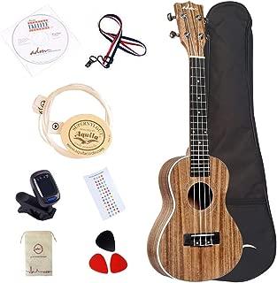 ADM Adult Ukulele Concert 23 inch Hawaiian Solid Koa Wood Aquila Strings Student Beginner Bundle