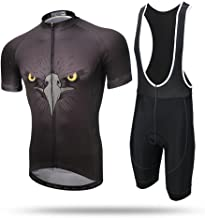 Pinjeer 100% Polyester Summer Hawkeye Pattern Cycling Clothing for Men Outdoors Bicycle Riding Quick Dry and Breathable Jersey Men Shorts Sleeve Sets with Suspender for Racing Bike (Size : XL)