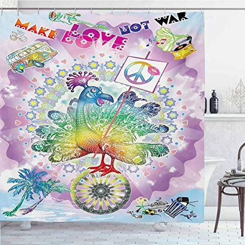 ScottDecor Hippie Waterproof Bathroom Shower Curtain Sets Funny Peacock with Make Love Not War Quote Hippie Flower Children Peace Theme for Bathroom - Spa, Hotel Luxury Multicolor W60 x L72 Inch
