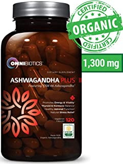 Ashwagandha Organic Capsules Clinical Strength 1300 mg with KSM-66 Ashwagandha Extract - 120 Vegan Capsules - Anxiety Relief, Stress Relief Supplement