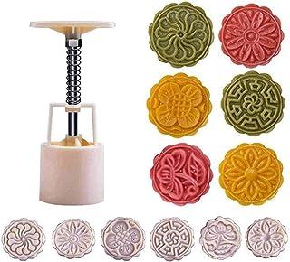 QUICKLYLY Moldes de Postre/Pastel/Galleta,Molde De Silicona Para Hornear,Mooncake Mold Flower Festival Medio Otoño Prensa Mano Juego Cortadores Luna