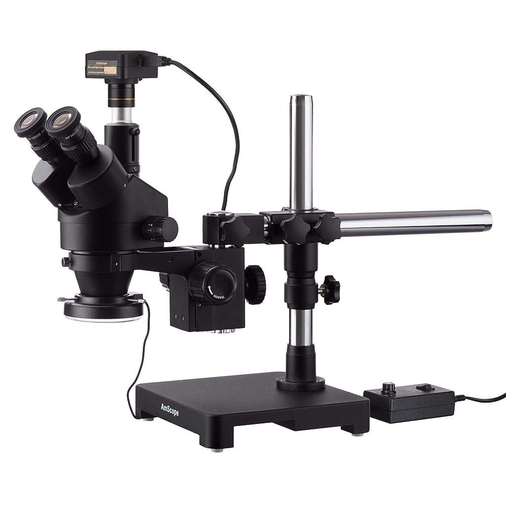 一次脚本振る舞うAmScope 5MP USB3.0カメラ付きシングルアームブームスタンド+ 144 LEDリング照明の3.5X-180Xブラック三眼鏡ステレオズーム顕微鏡