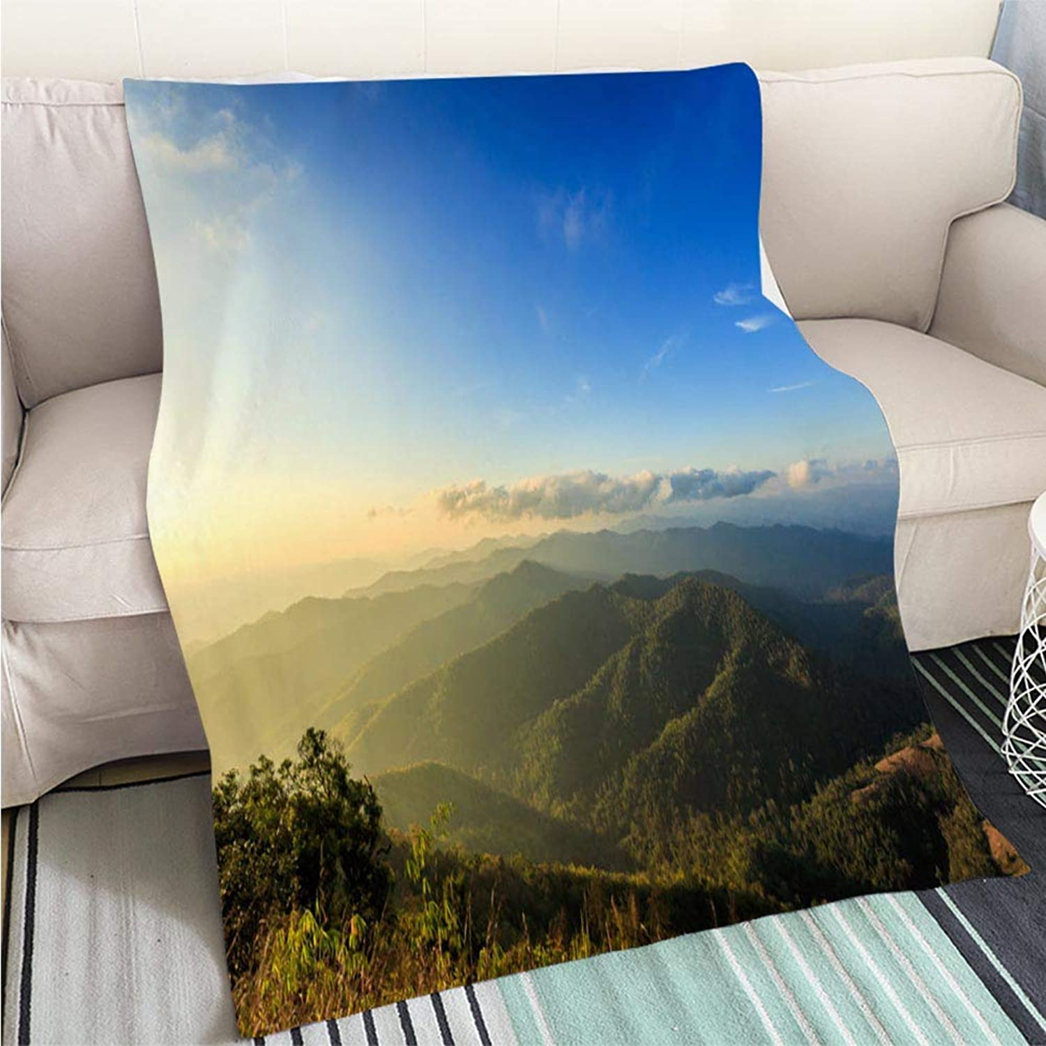 BEICICI Comforter Multicolor Bed or Couch Mountain National Parks Landscape and Sky in Thailand Living Room Bedroom Warm Blanket