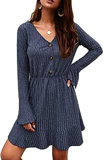 MAXIMGR Womens V-Neck Long Sleeve Knit Midi Dress Button Down Ruffle Elastic Waist Mini Dresses