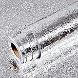 Livelynine Film Adhésif Argenté Autocollant en Aluminium Résistant à La Chaleur pour Mur Arrière Carrelage de Cuisine Film Adhésif pour Meubles Cuisine Protection Anti-éclaboussures Étanche 40cm*2m