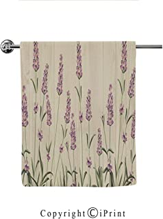 Printing Modern Hand Towels Drying Washcloth Print Bath Towels Women Home Textile(12 x 28 Inches),Lavender,Aromatic Herbs on Wooden Planks Springtime Nature Botany Illustration,Beige Lilac Sage Green