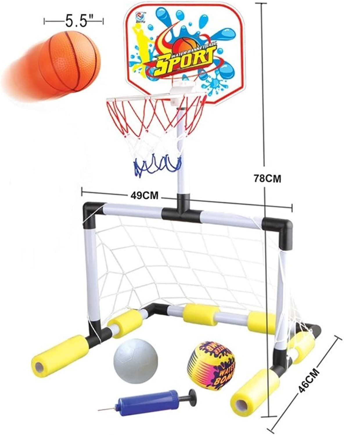 DoitY Floating 2 in 1 Basketball Hoop and Soccer Goal Pool Set with 2 Nets, 2 Small Inflatable Balls and Pump