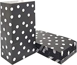 Polka Dot Paper Bags Black Lunch Bags for Party Favors Supplies by ADIDO EVA (5.1 x 3.1 x 9.4 in 50 PCS)