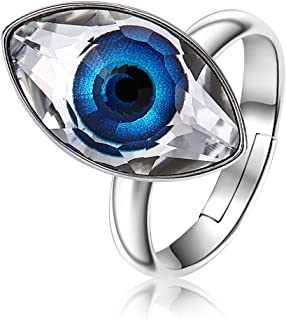 Evil Eye Ring Blue Crystal Free Size Opening for Mens Womens Adjustable Ring, Crystal from Swarovski