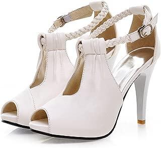 YUBUKE Women's Evening Prom Rhinestones Peep Toe High Heel Platform Satin Wedding Shoes