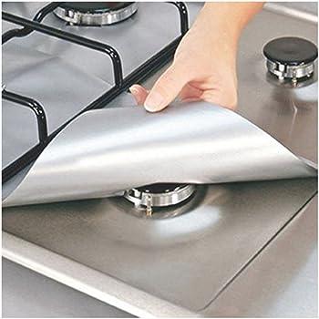 4//8Pcs Gas Range Stove Top Burner Protector Reusable Liner Clean Non-stick Cover