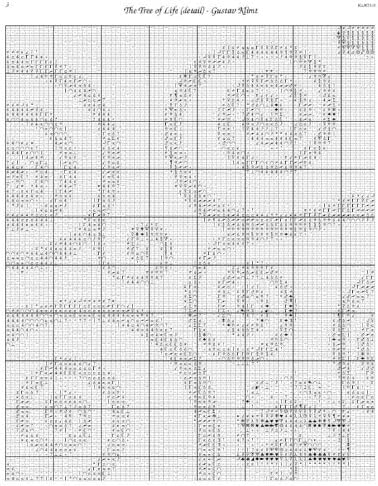 Scarlet Quince KLI021lg The Tree of Life by Gustav Klimt Counted Cross Stitch Chart Large Size Symbols