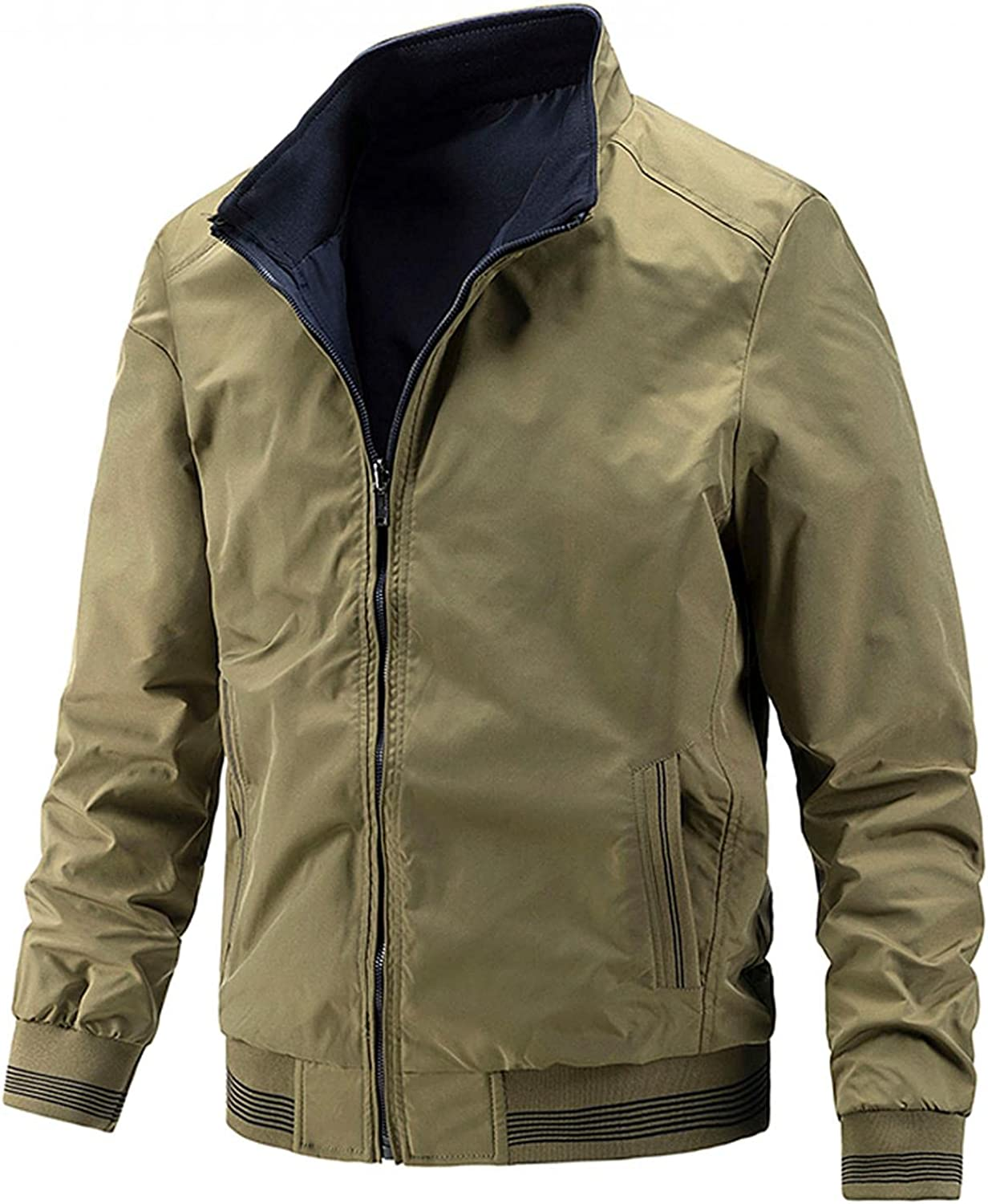 LEIYAN Mens Cargo Military Jackets Zip Up Long Sleeve Casual Lightweight Outdoors Hiking Bomber Jackets with Pockets