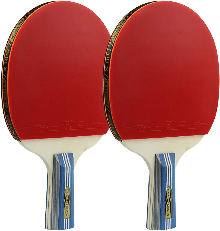 HXFENA Bate de Tenis de Mesa,Raquetas de Tenis de Mesa Ligera para Principiantes Raqueta de PráCtica Profesional con Buen Control Y Golpes CóModos / 3 Star/A