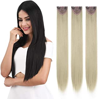 """REECHO 24"""" Thick Long Straight 3PCS Set Clip in on Hair Extensions for Women Girls Ash Blonde"""