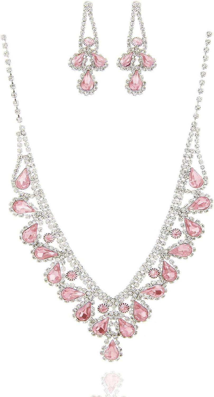 SP Sophia Collection Fancy Bridal Jewelry Teardrop Necklace with Halo Stud Post Dangle Earrings Set