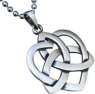 Celtic Jewelry Heart Triquetra Knot Pagan Pewter Men's Women's Pendant Necklace lucky Charm Protection Amulet Wealth Etern...