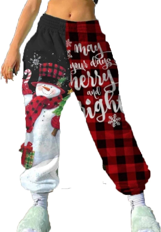 Seyurigaoka Women Girls Christmas Jogger Sweatpants High Waist Casual Sweatpants Baggy Trousers