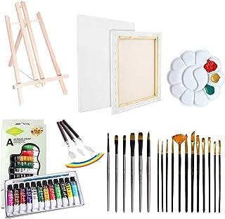 Artist Painting Set 37Pcs Art Supply con caballete de mesa de madera, 12 colores acrílicos, lienzo estirado, cuchillo de paleta, pinceles y paleta de plástico para principiantes de dibujo
