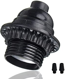 EFINEHOME 2 Pack Short Keyless Medium Base Phenolic Socket Black Period Style E26 E27 Socket Screw Bulbs Edison Retro Pendant Lamp Holder
