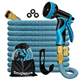 SnugNiture 100FT Expandable Garden Hose with 10 Function Spray Nozzle, Superior Strength 3750D No-Kink Expanding Pipe, Leakproof Lightweight Flexible Water Hose with 3/4' Solid Connector