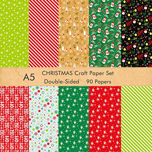 ASTARON 90 Sheets Christmas Pattern Paper Set 5.5 x 8.2 inches Decorative Paper for Christmas DIY Craft Scrapbook Decoration, 10 Styles