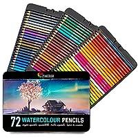 72 CRAYONS AQUARELLABLES ET UN PINCEAU - Notre set de crayons aquarelle possède 72 crayons de couleurs professionnels solubles différents et uniques accompagnés d'un pinceau pour que vous puissiez créer des effets et des mélanges incroyables : Donnez...