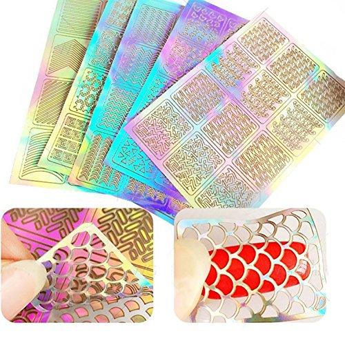 Top Beauty 60 Stück Nagel Vinyls Schablonenaufkleber Set, 5 Blatt 60 verschiedene Designs Niedliche Nail Art Nail Schablonenblätter