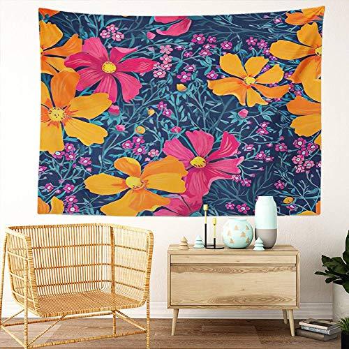 Y·JIANG Tapiz de hierbas, flores de verano florales para el hogar, decoración de dormitorio grande, manta ancha para colgar en la pared para sala de estar, dormitorio, 152,4 x 127 cm