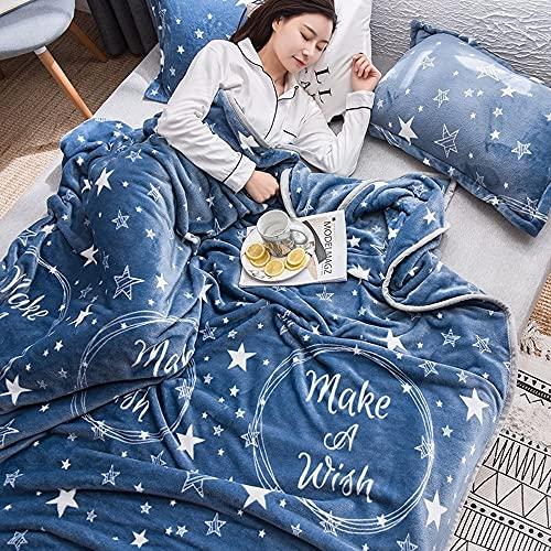 Vinteen Blanket Super Soft Cute Decke für Bett Couch Coral Fleece Starfish Cyan Fleece Decke Soft Warm Throws Decken für Sofa Home Bett Auto Reisebüro - Decke Tagesdecke