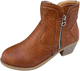 Kauneus Womens Round Toe Chunky Heel Hollow Out Crop Ankle Boots Creative Double Zipper Fashion Roman Boots
