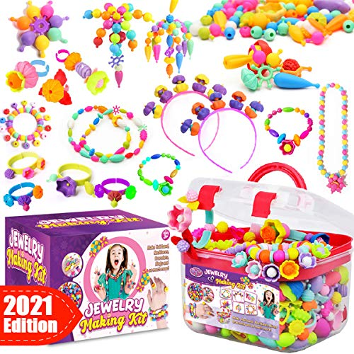Goody King Pop Beads Jewelry Making Kit for Kids - Snap PopBead Toys for Girls Kids Art and Craft Kits DIY Pop Bead Bracelets Necklace Hairband and Rings Toy for Girl Age 3 4 5 6 7 8 Year Old